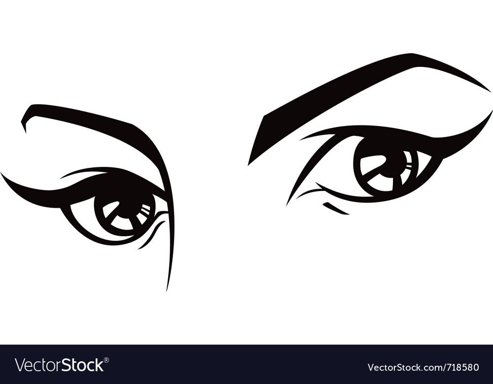 Female eyes set three vector image