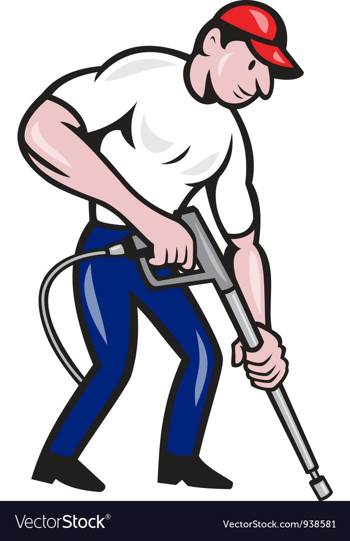 Power Washing Pressure Water Blaster Worker vector image