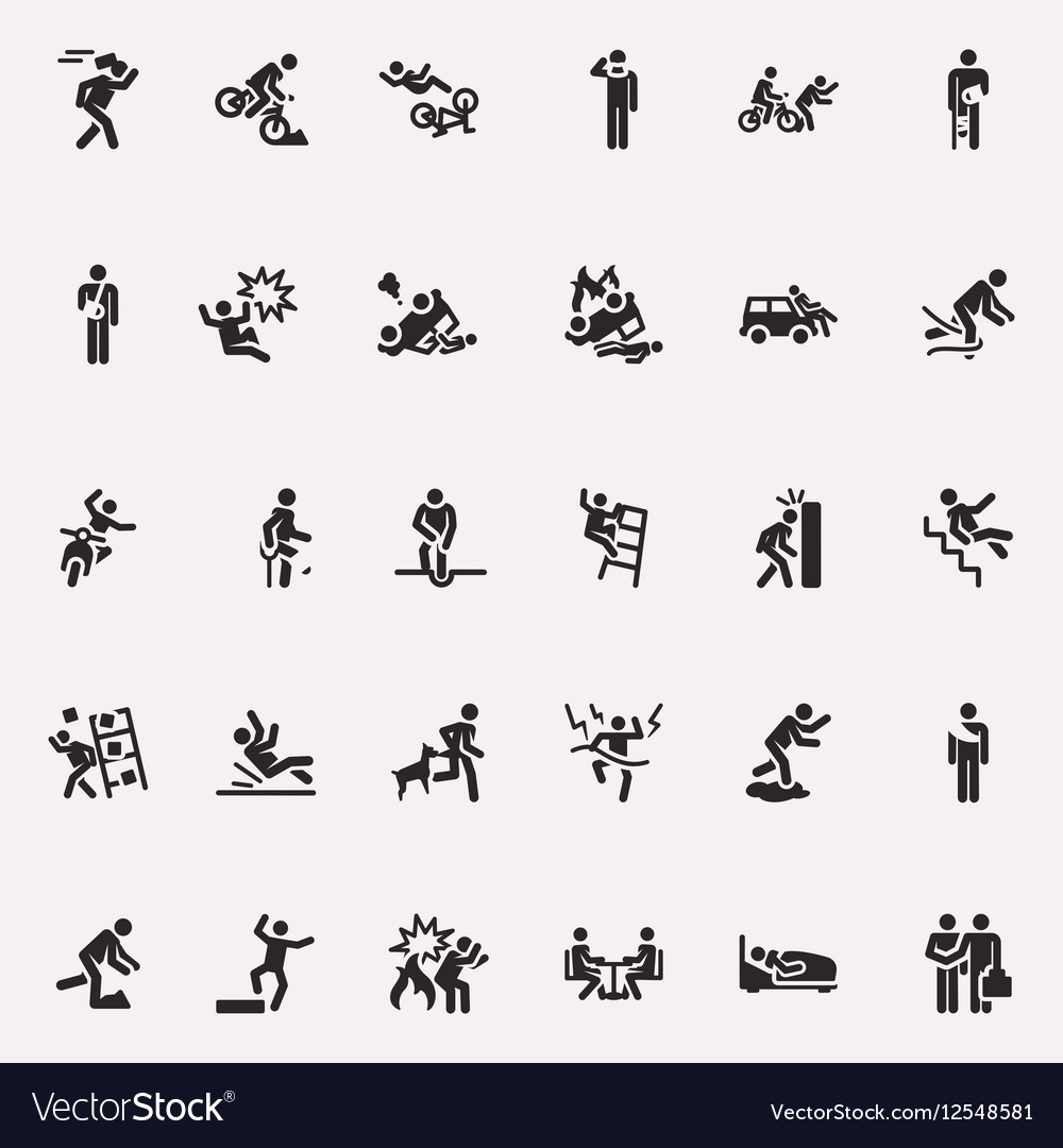 Stick figures incidents and accidents vector image