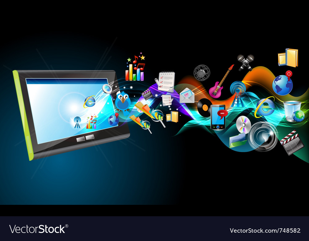 Ipad and icons vector image