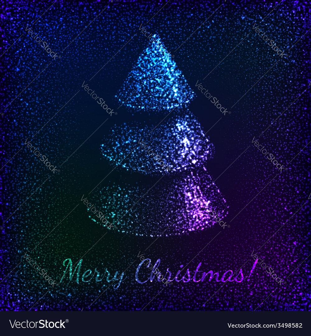 Blue shining glitter Christmas tree greeting card vector image