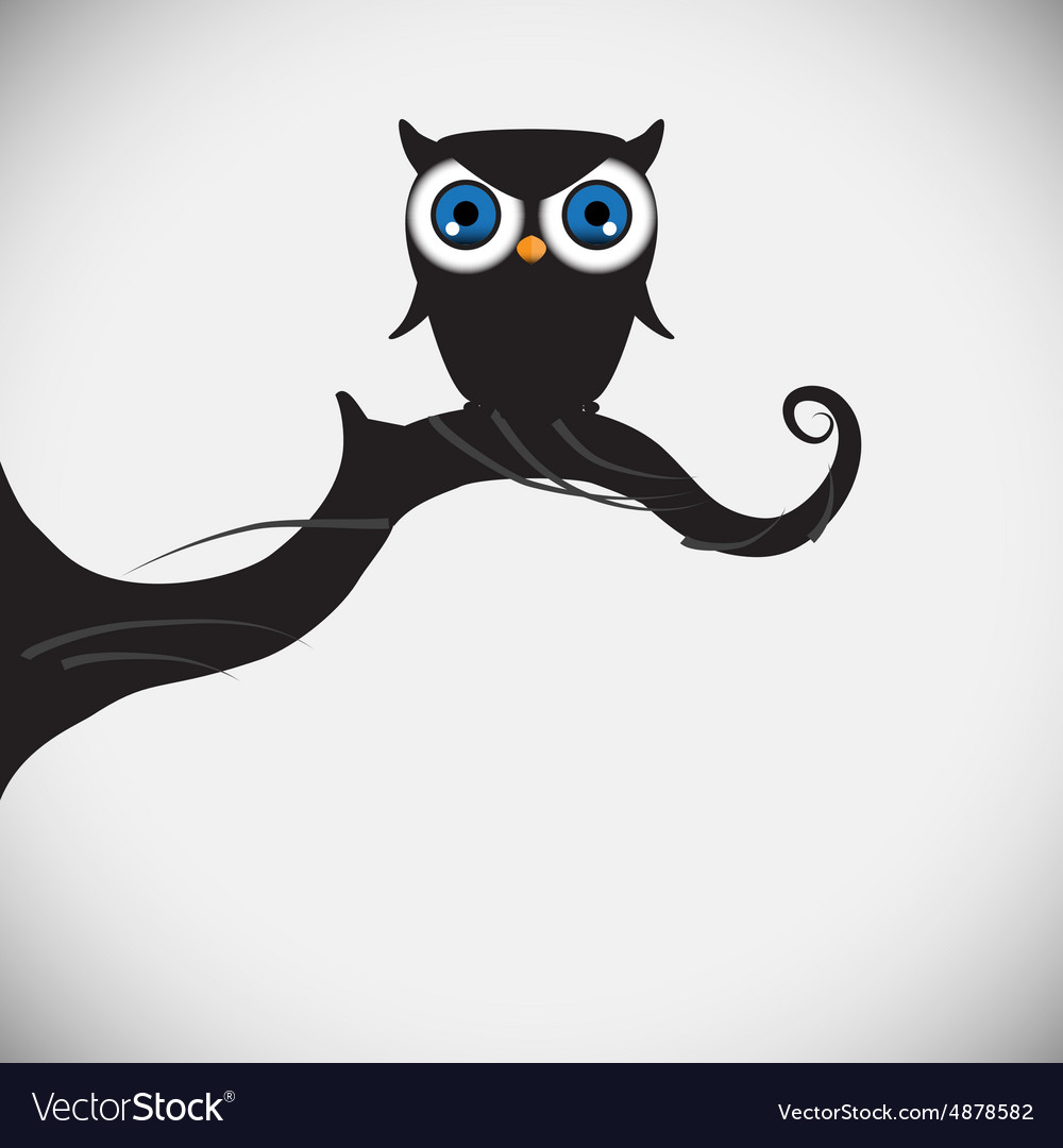 Cute owls on the tree branch vector image