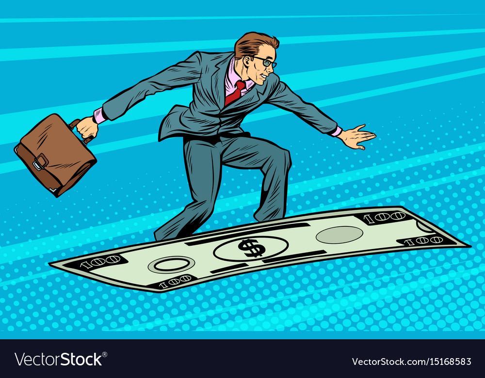Businessman on flying money carpet plane vector image