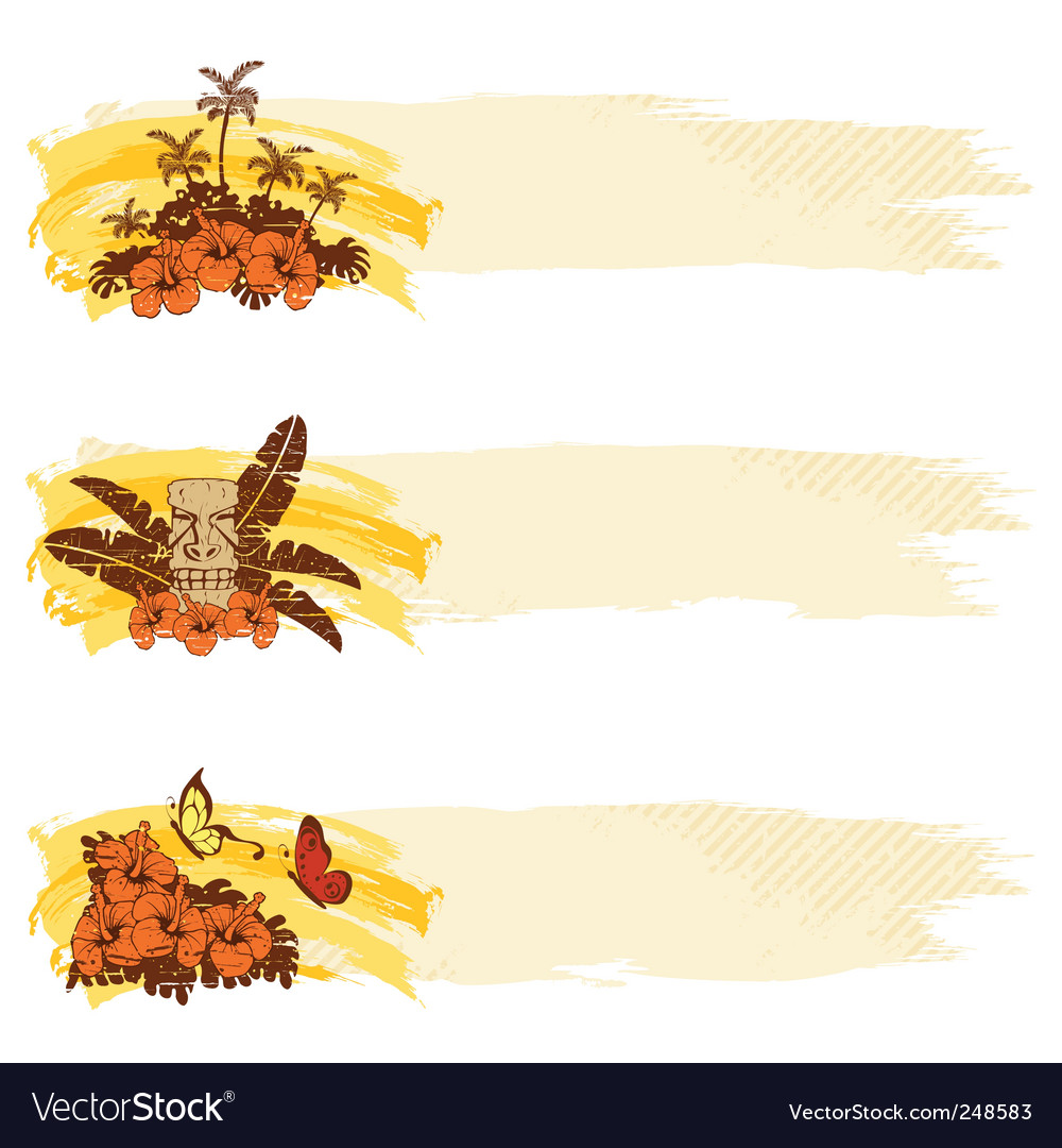 Tropical grunge banners vector image