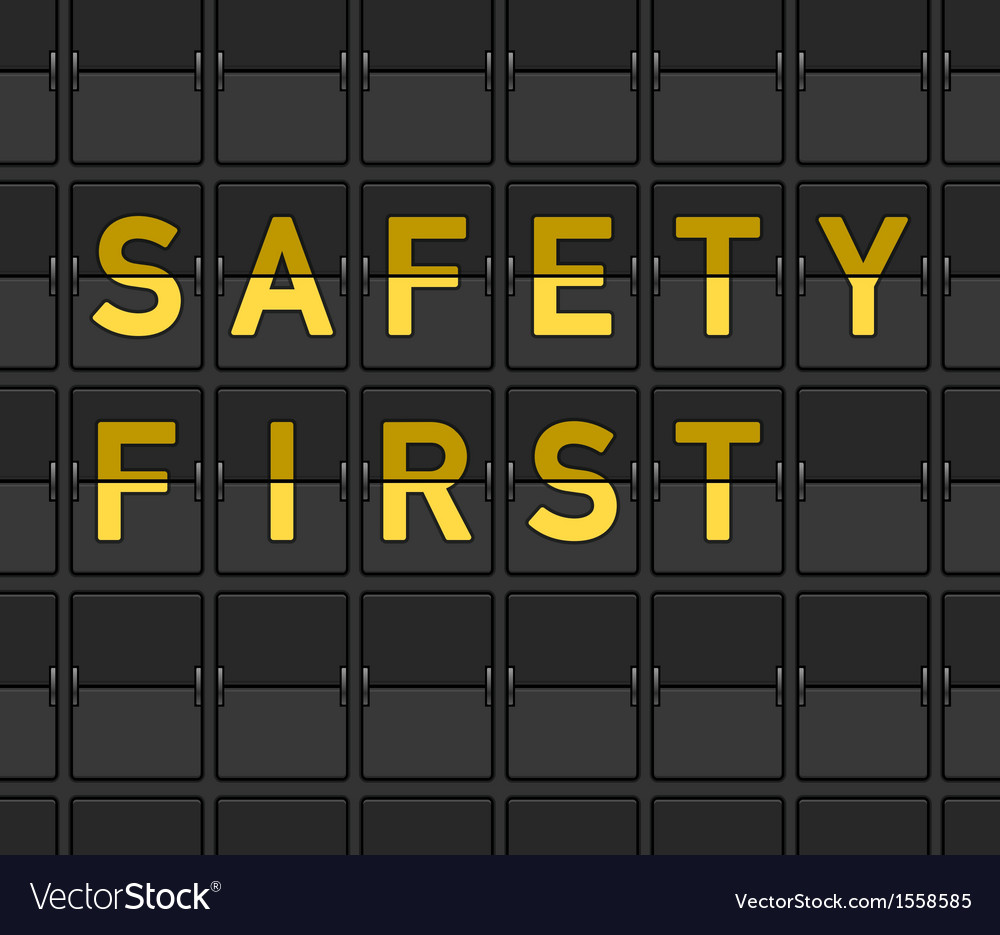 Safety First Flip Board Vector Image