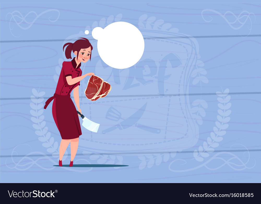 Female chef cook holding meat cartoon chief in vector image