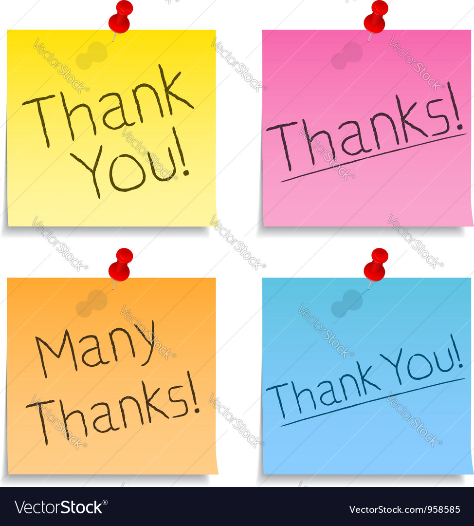 Thank You Post-it Notes vector image