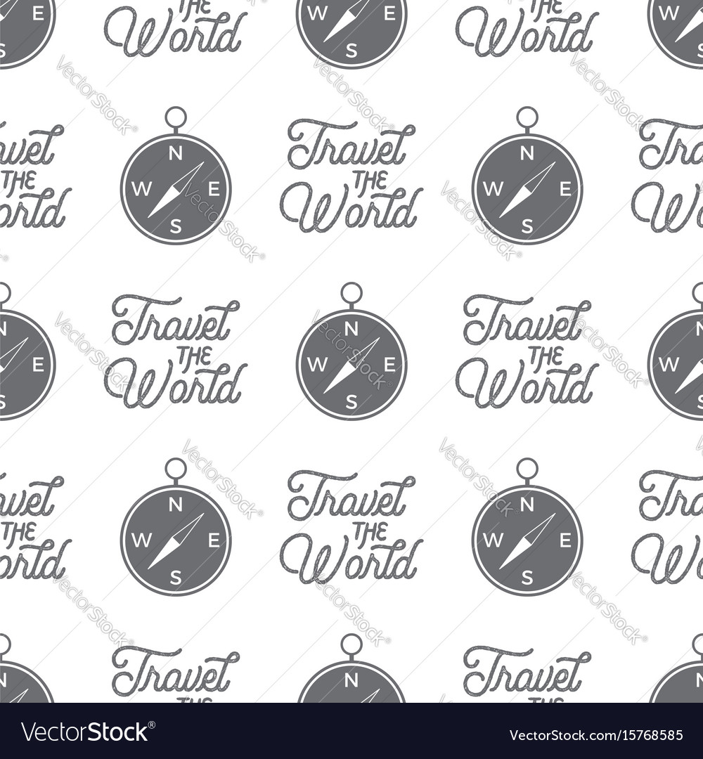 Travel compass seamless background travel the vector image