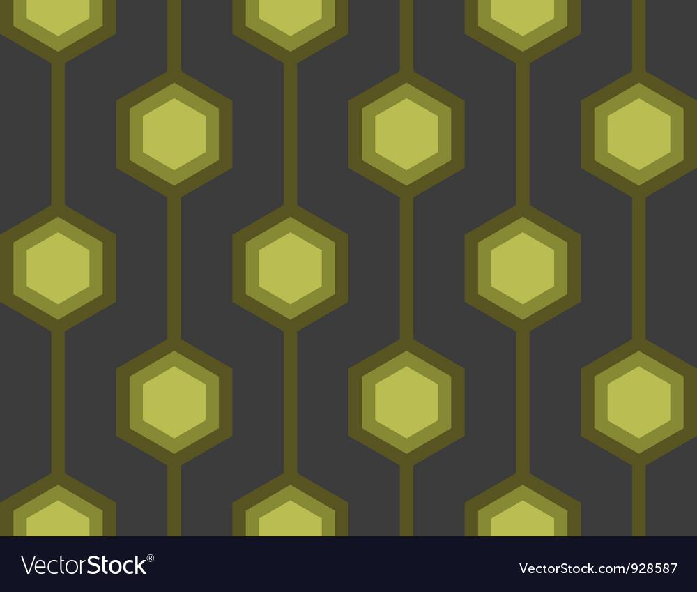 Retro Hexagons Green Seamless Tile vector image