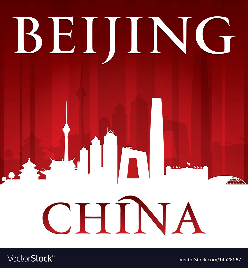 Beijing china city skyline silhouette red vector image