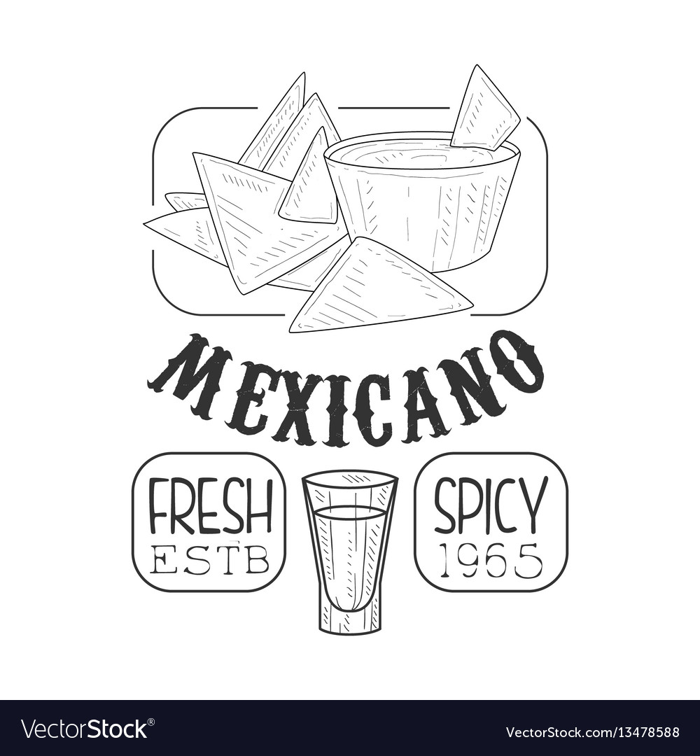 Restaurant fresh mexican food menu promo sign in vector image