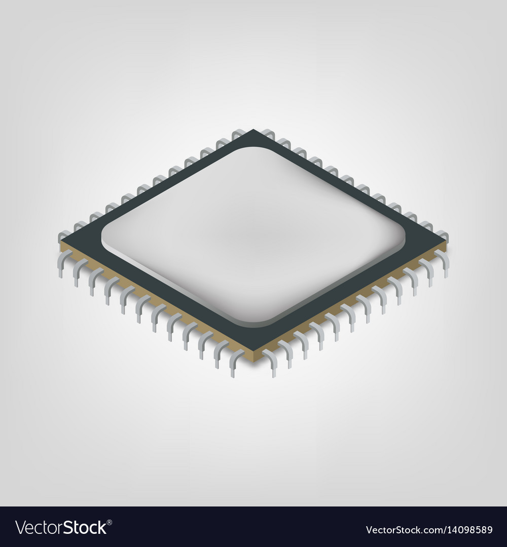 Central processing unit is an isometric vector image