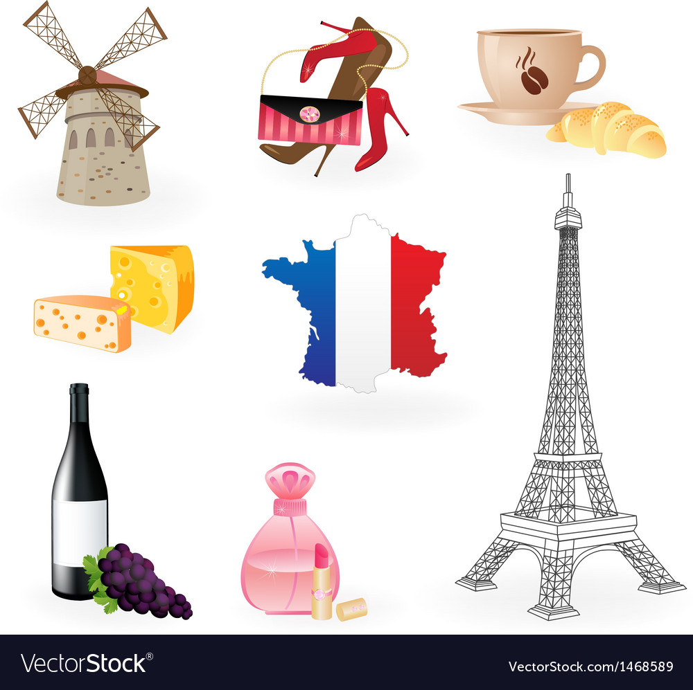 Collection icons of symbols of france royalty free vector collection icons of symbols of france vector image biocorpaavc