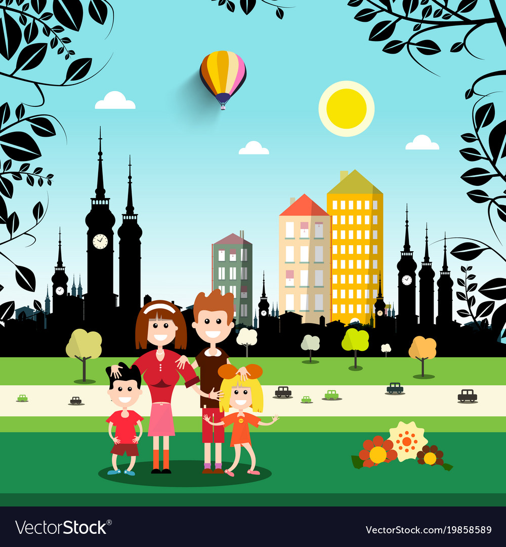 Family in city park abstract town on background vector image