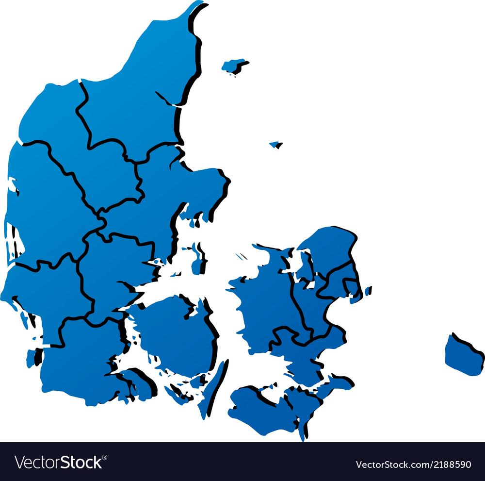 High detailed map - Denmark vector image