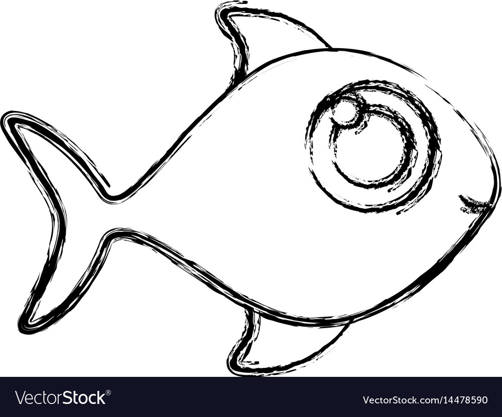 Monochrome sketch of fish without scales vector image