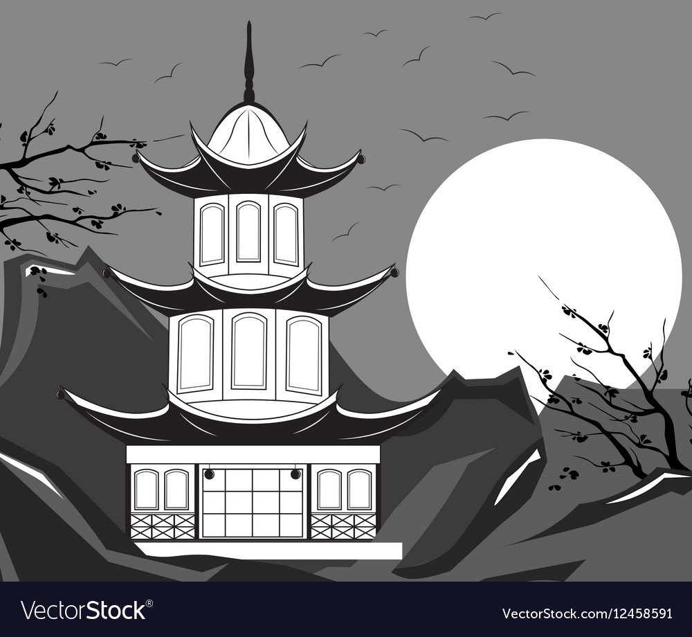Traditional Japanese Temple vector image