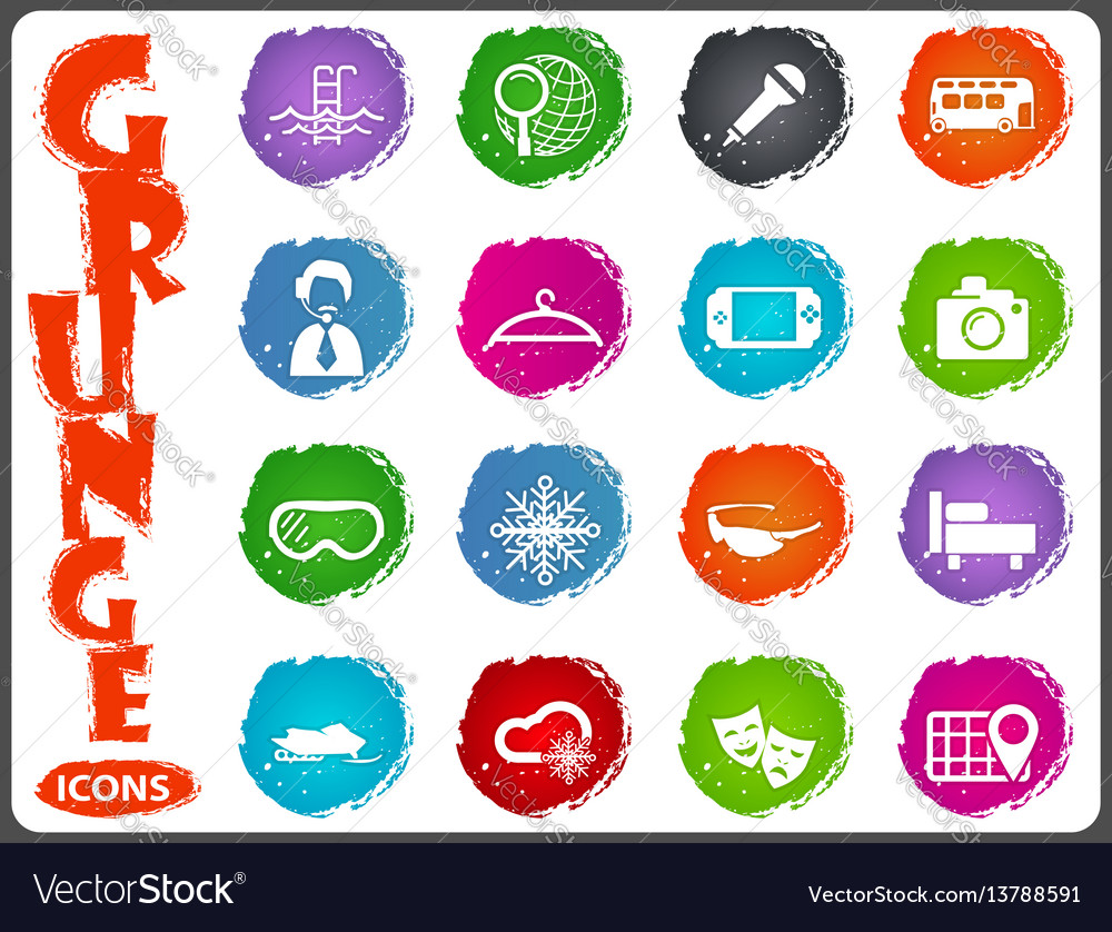 Travel icons set in grunge style vector image