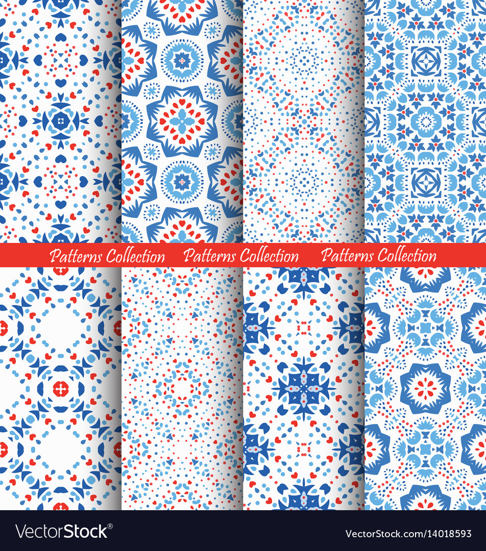 Blue flower patterns boho backgrounds vector image