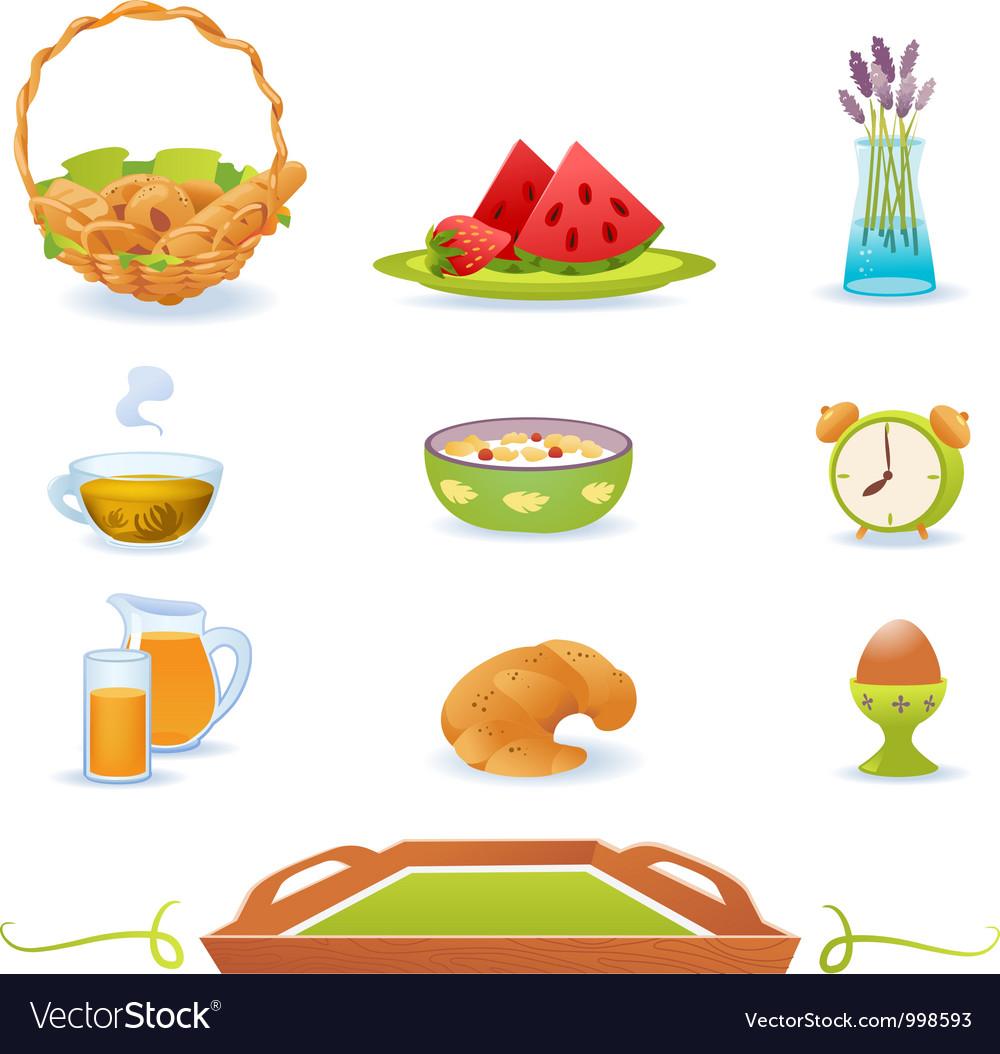 Breakfast green icons set vector image