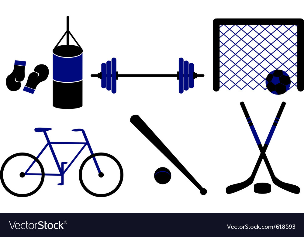 Set of sporting equipment isolated vector image