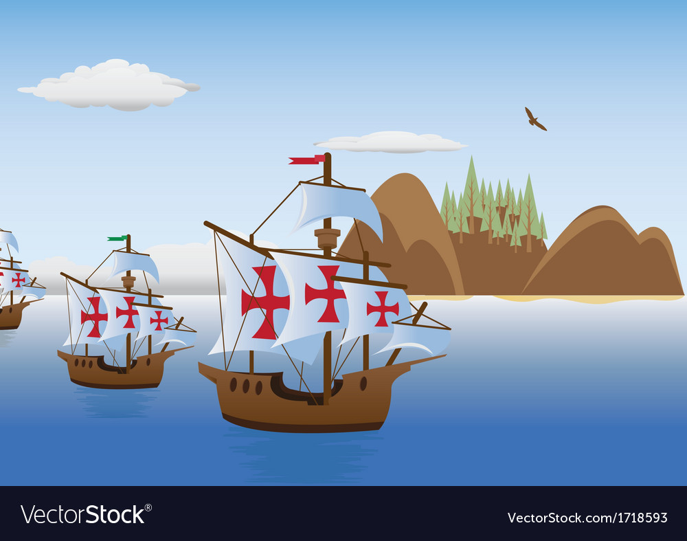 The discovery of America vector image