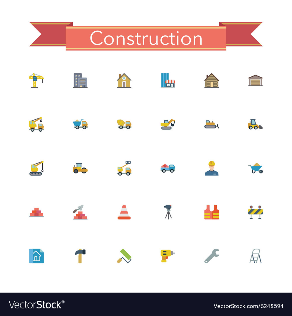 Construction Flat Icons vector image
