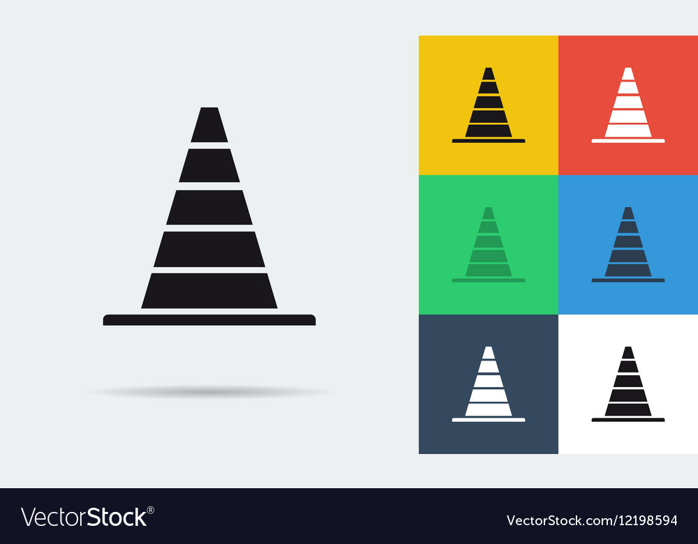 Seven flat icons of parking cones vector image