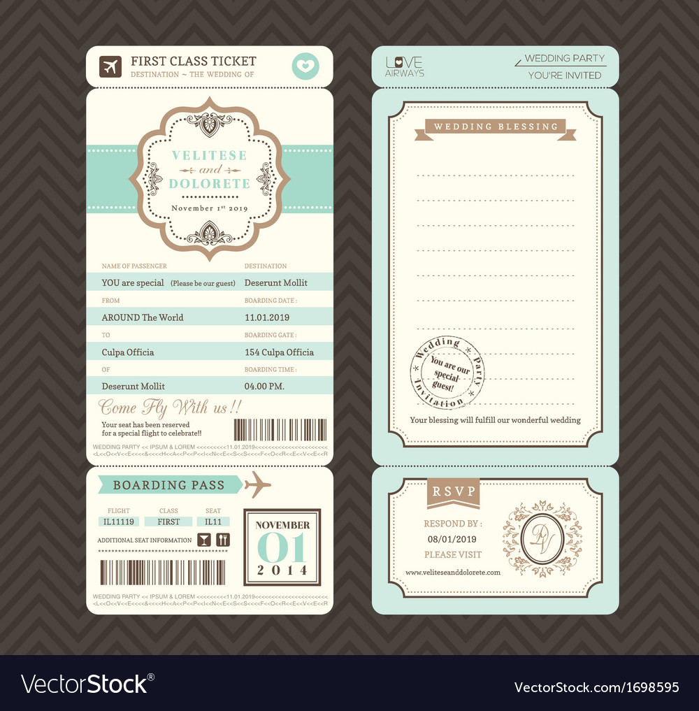 Vintage style Boarding Pass Wedding Invitatation vector image