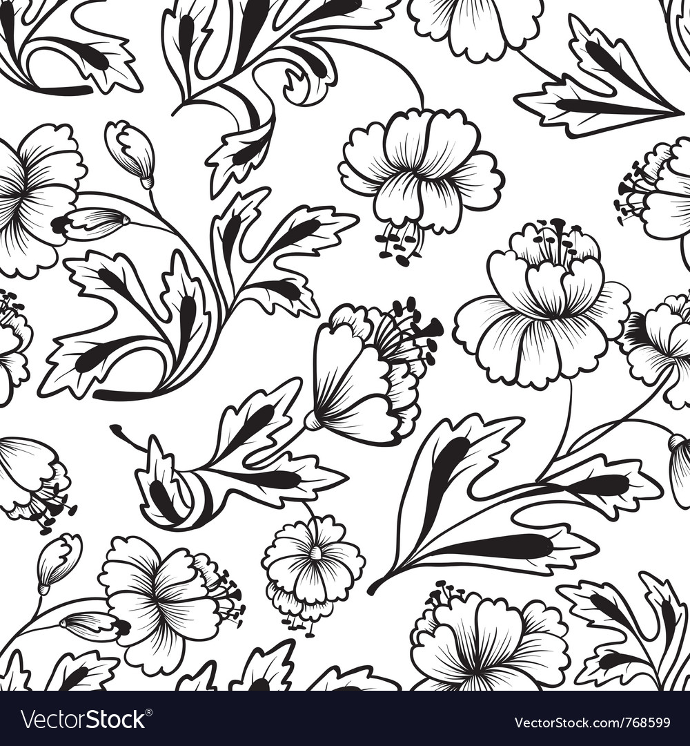 Floral lineart seamless pattern vector image