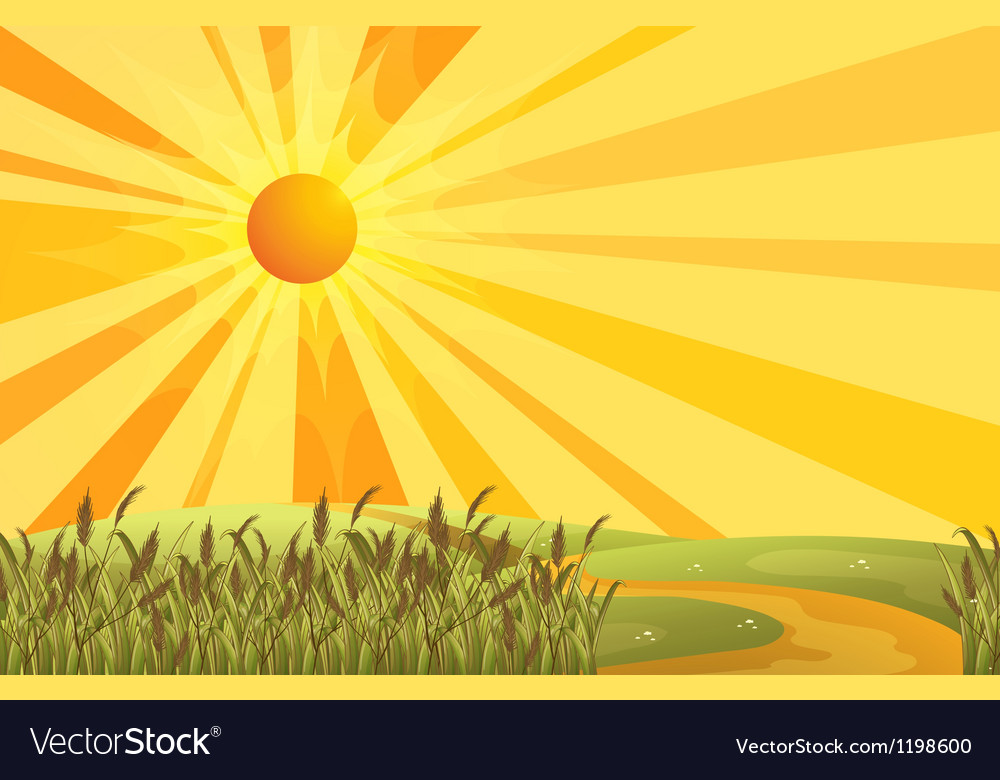 A sunset scenery at the hills vector image