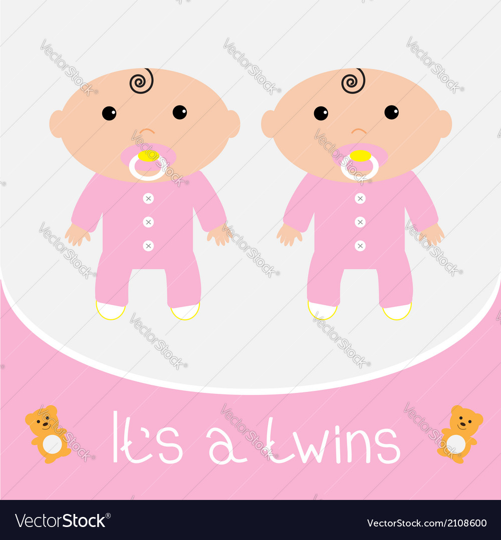 Lovely Baby Shower Card Its A Twins Girls Vector Image