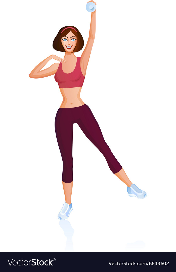 Girl is engaged in fitness with dumbbell vector image