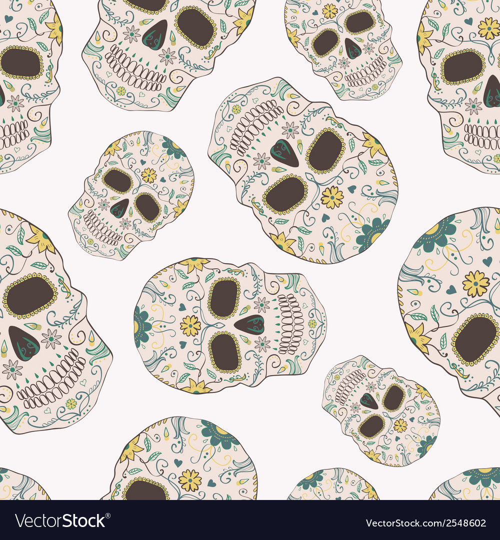 Seamless pattern with Day of the Dead skulls vector image
