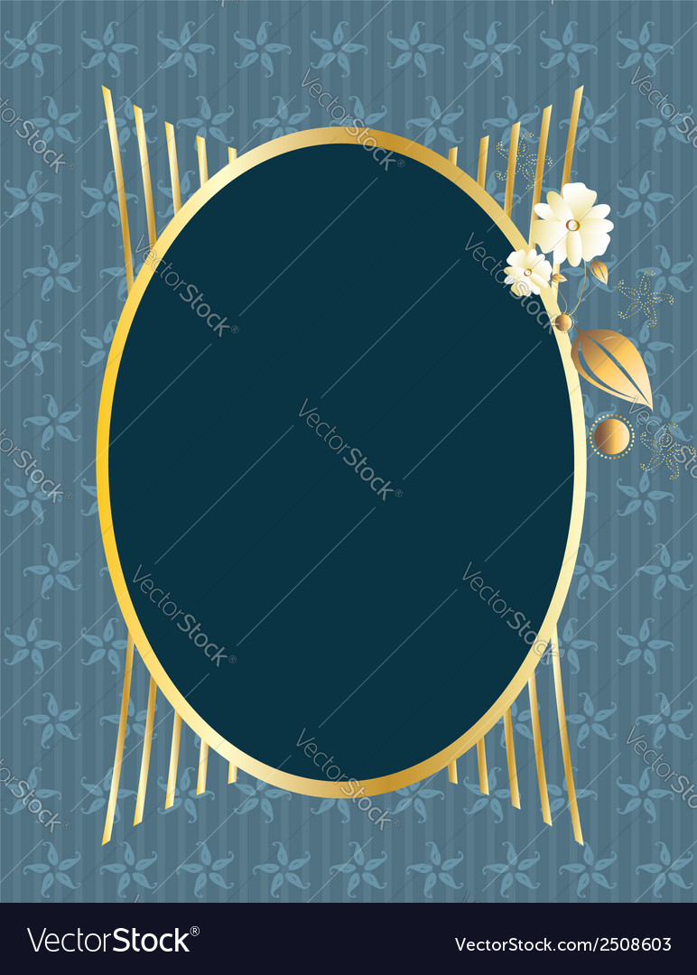 Blue gold oval frame Royalty Free Vector Image