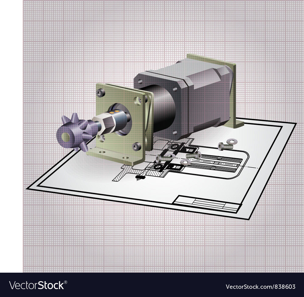 Machine engine assembly vector image