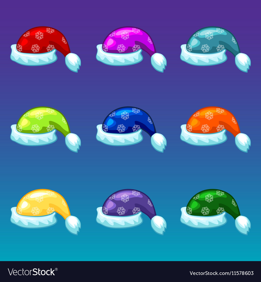 Santa Claus colors hats isolated object vector image