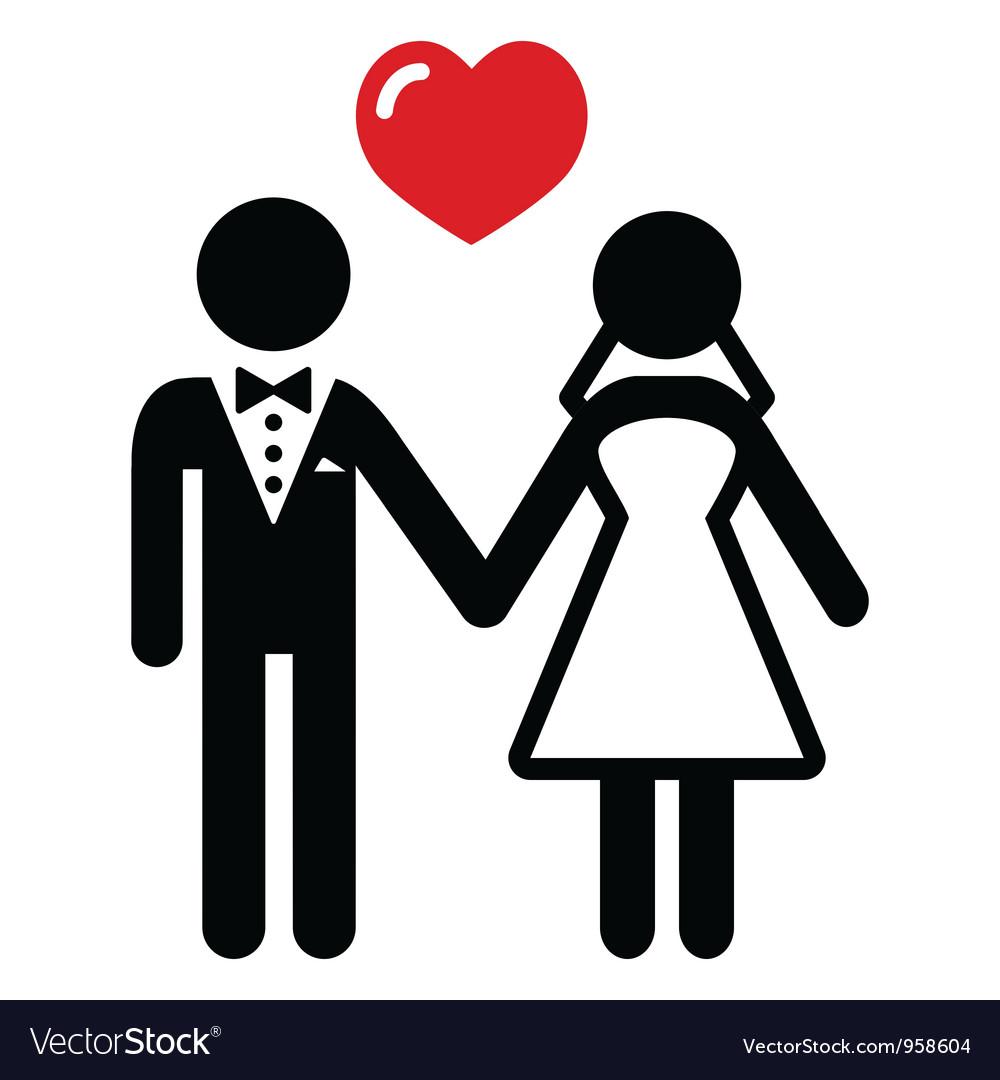 Wedding married couple icon vector image