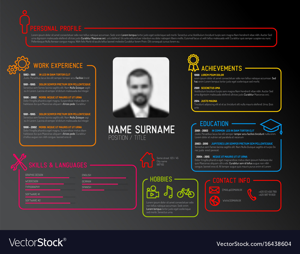 Original Cv Resume Template Royalty Free Vector Image