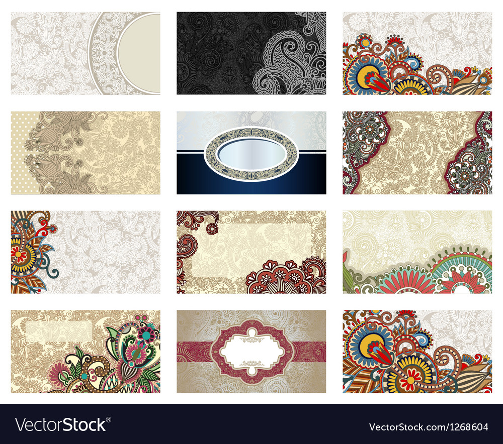 Ornate floral business card Royalty Free Vector Image