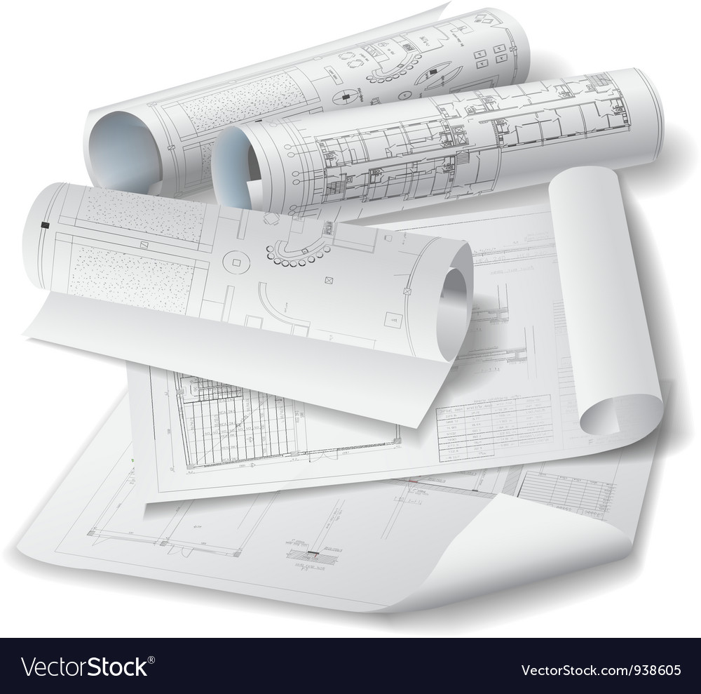 Architectural background with rolls of drawings vector image