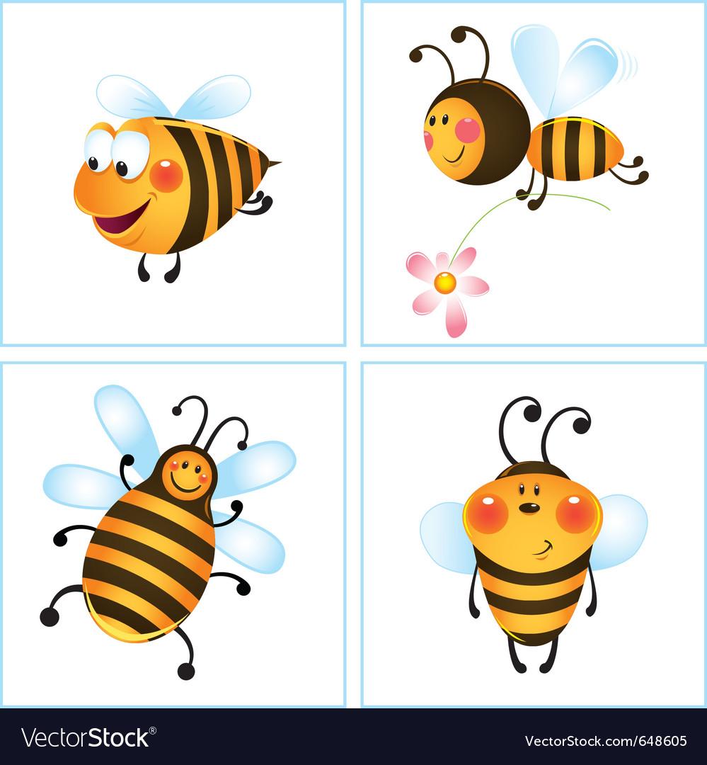 Cartoon bumble bees vector image