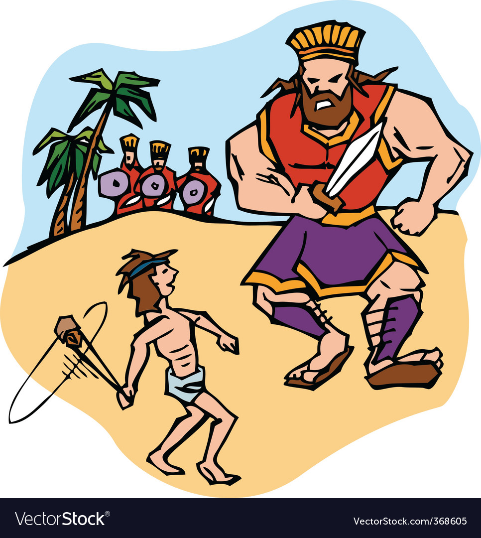 david and goliath royalty free vector image vectorstock