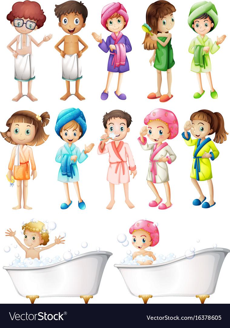 Happy children in bathrobe vector image