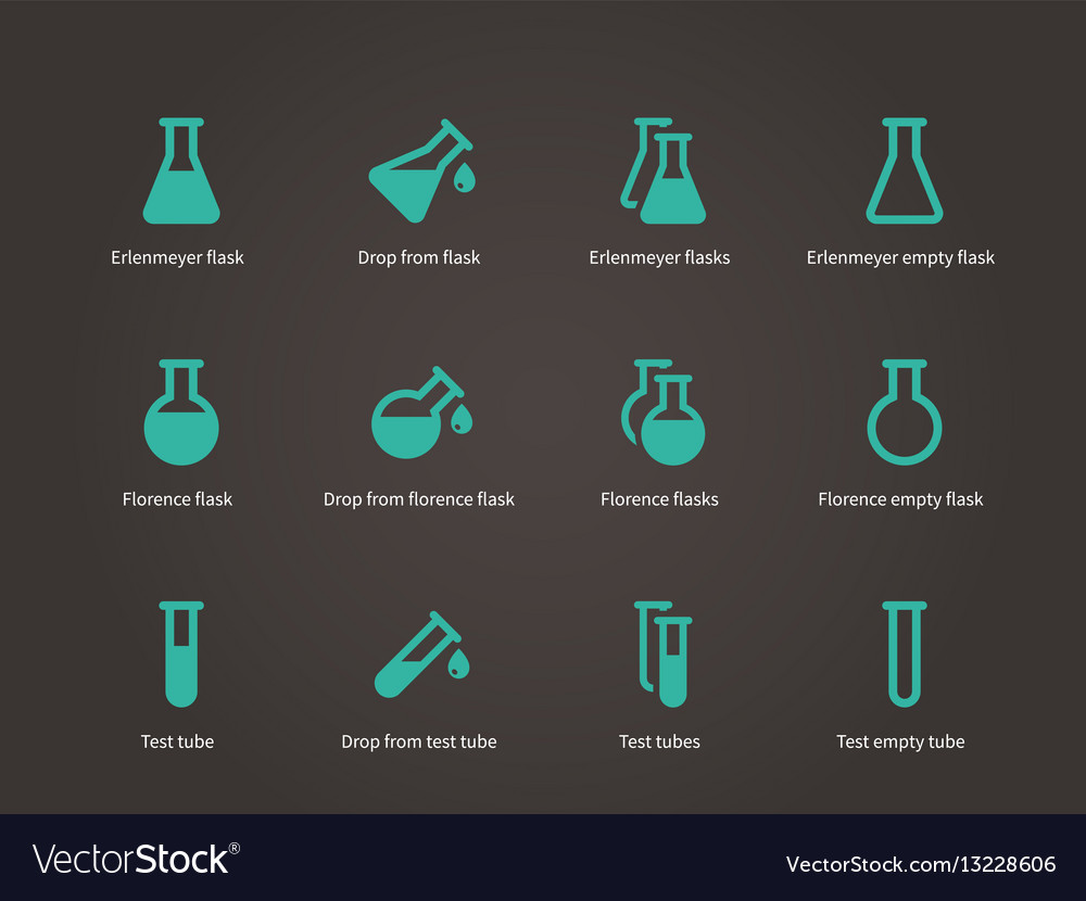 Erlenmeyer and florence flasks icons set vector image