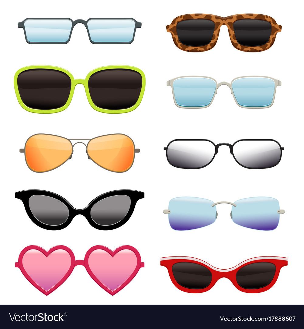 Set of different sun glasses vector image