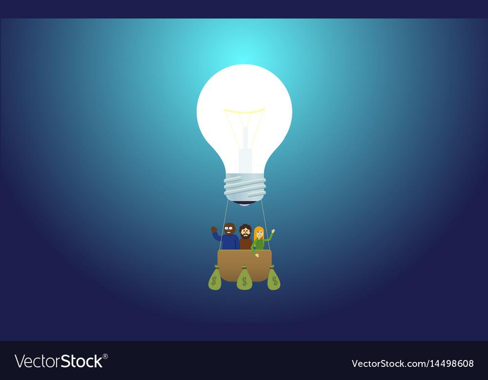 Idea lamp - balloon or aerostat startup team vector image