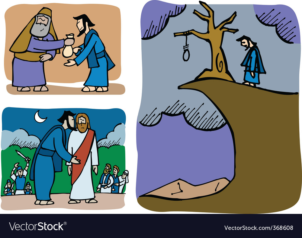 Judas betrays jesus vector image