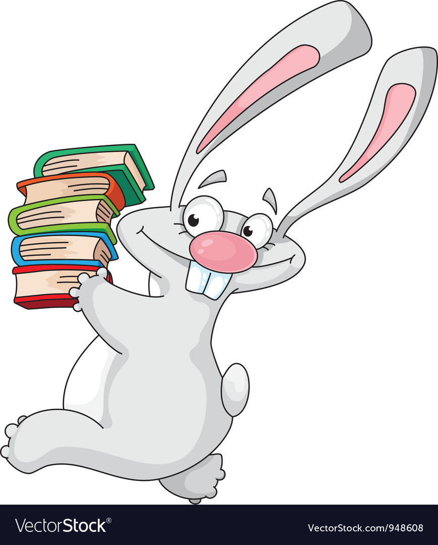 Rabbit and books vector image