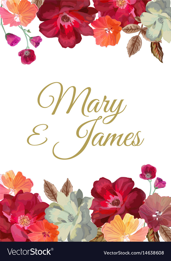 Wedding invitation with floral background hand vector image